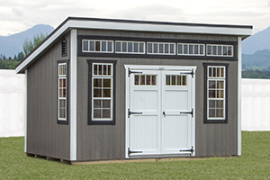 Custom Home Office Building from Pine Creek Structures | Lean To style shed with lp siding and custom upgrades