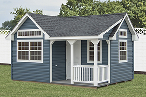 Custom Home Office Building from Pine Creek Structures | Victorian style shed with vinyl siding and custom upgrades
