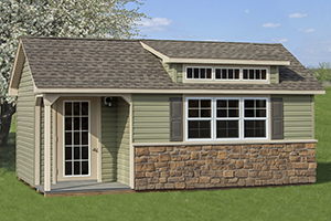 Custom Home Office Building from Pine Creek Structures | Cape Cod style shed with vinyl siding and custom upgrades