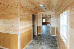Custom Home Office Building from Pine Creek Structures | Custom Finished Shed Interior