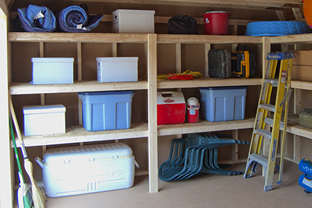 Increase your usable space inside a storage shed with shelves
