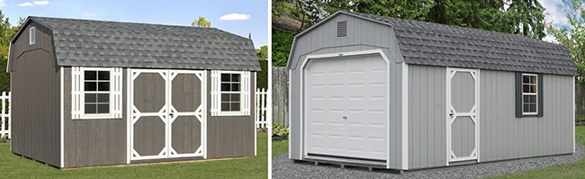 Dutch Style One-Car Garage and Storage Shed with LP Siding