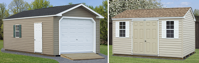 Peak Style One-Car Garage and Storage Shed with Vinyl Siding