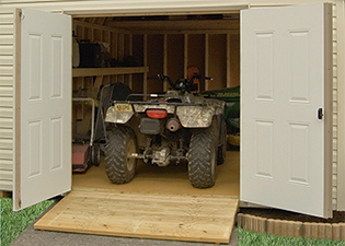Storing an ATV in a shed