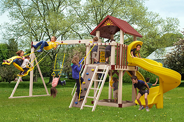 The Starboard Escape Vinyl Play Set with children playing and swinging