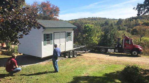 Standard Storage Shed Delivery With A Truck and Trailer