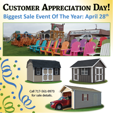 Pine Creek Structures of Harrisburg Customer Appreciation Day sale on Saturday April 28, 2018