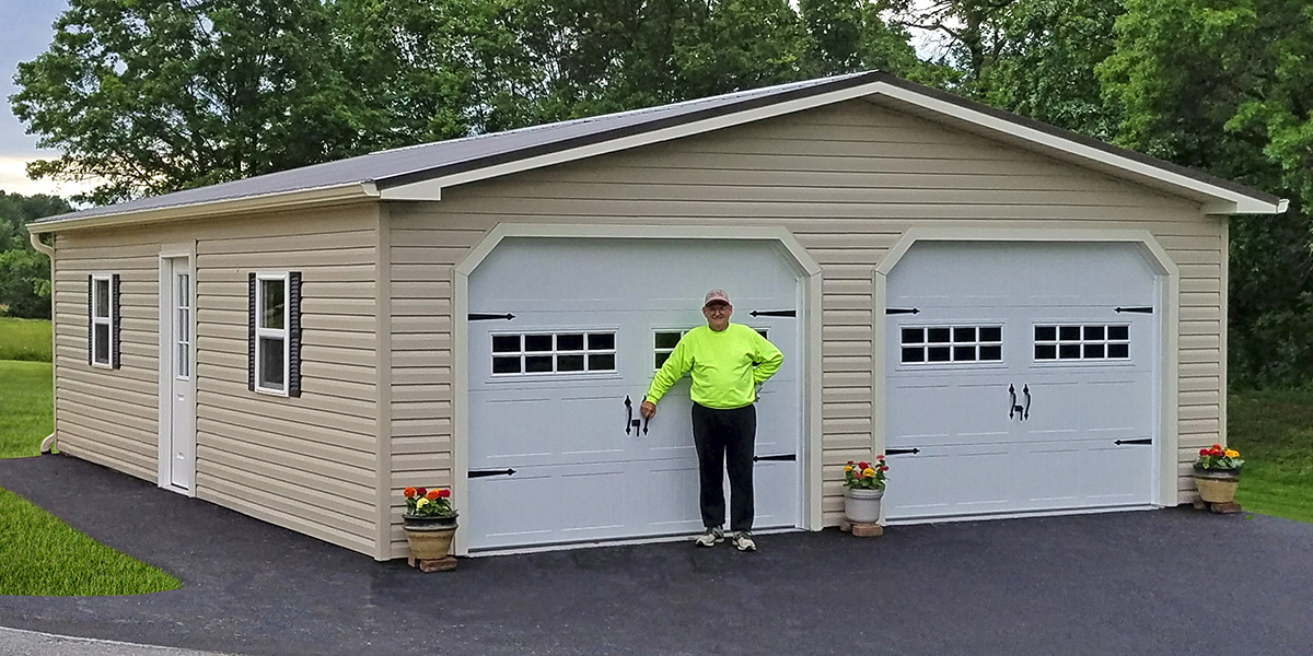 24x32 customized two car garage with vinyl siding - How Big Is A 2 Car Garage
