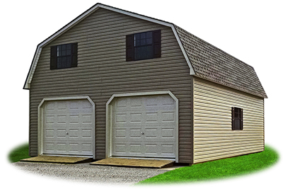 24 x 28 Customized 2-Story 2-Car Garage​ with Vinyl Siding and Gambrel style roof