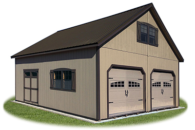 24 x 28 Customized 2-Story 2-Car Garage​ with LP Siding and 8/12 pitch roof