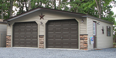 24x28 Customized Two-Car Garage with vinyl siding