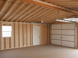Interior of Vinyl Sided 2-Car Modular Garage