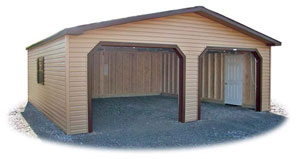 Vinyl Sided 2-Car Modular Garage with no floor