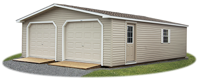 Customized Vinyl Sided 2-Car Modular Garage with ramps
