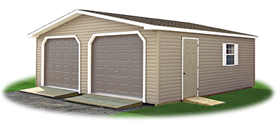 Vinyl Sided 2-Car Modular Garage with ramps