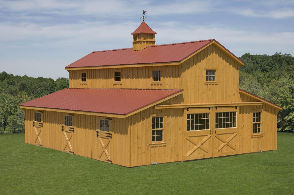 Quality horse barns pine creek structures for Barn house layouts