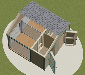 8x8 Medium Double Dog Kennel Interior Drawing from Pine Creek Structures