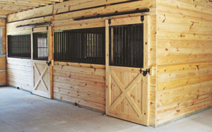 Horse Stalls Inside Large Barn