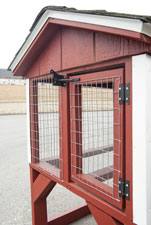 front door on rabbit hutch animal shelter constructed by Pine Creek Structures