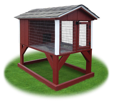 Red and White rabbit hutch animal shelter constructed by Pine Creek Structures