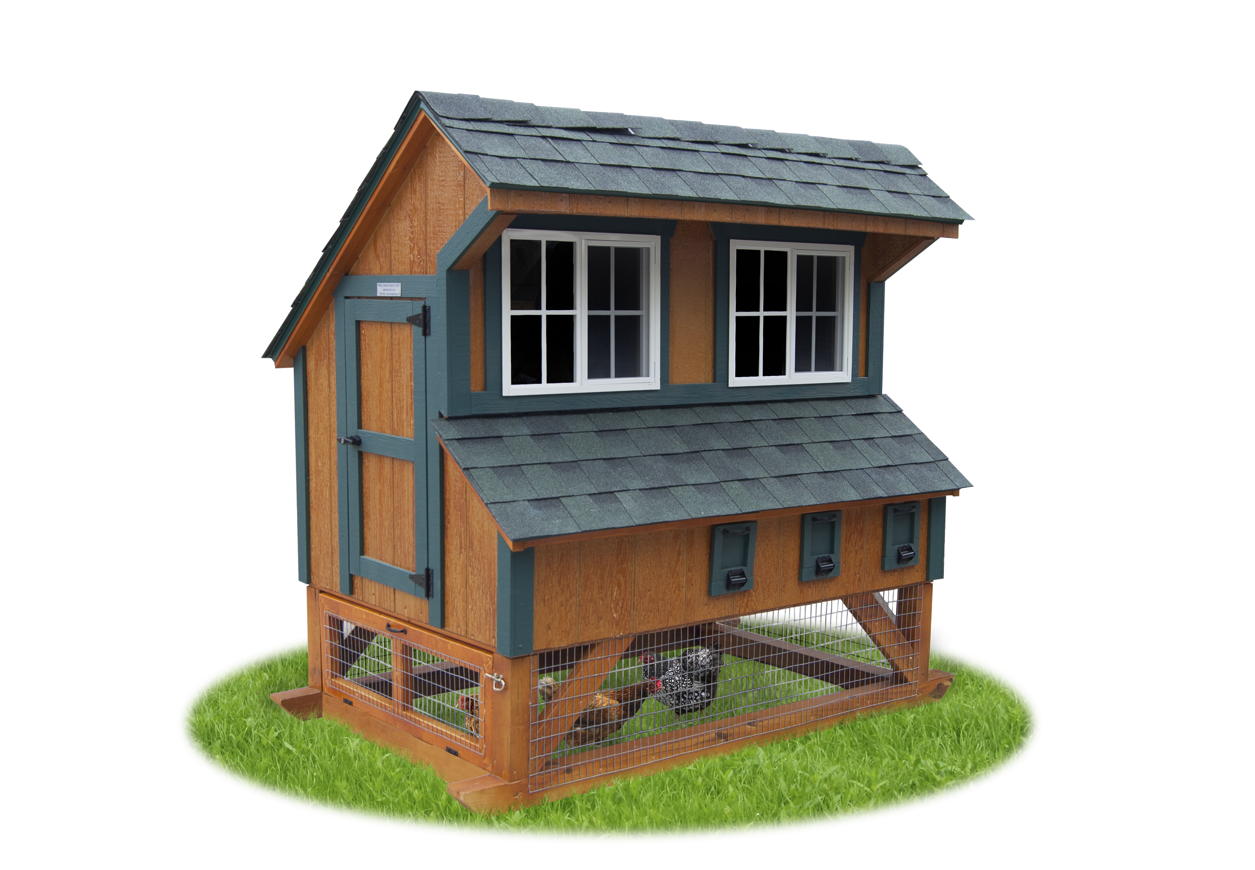 4x6 Mini Chicken Condo Shown with rustic cedar polyurethane on LP SmartSide, hunter green trim, two sliding windows, access door, turn-out door, three nesting boxes with egg doors, roosts, ramp from interior to wire enclosed area below, and green shingles.