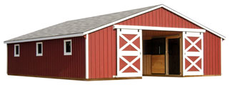 large red and white horse barn