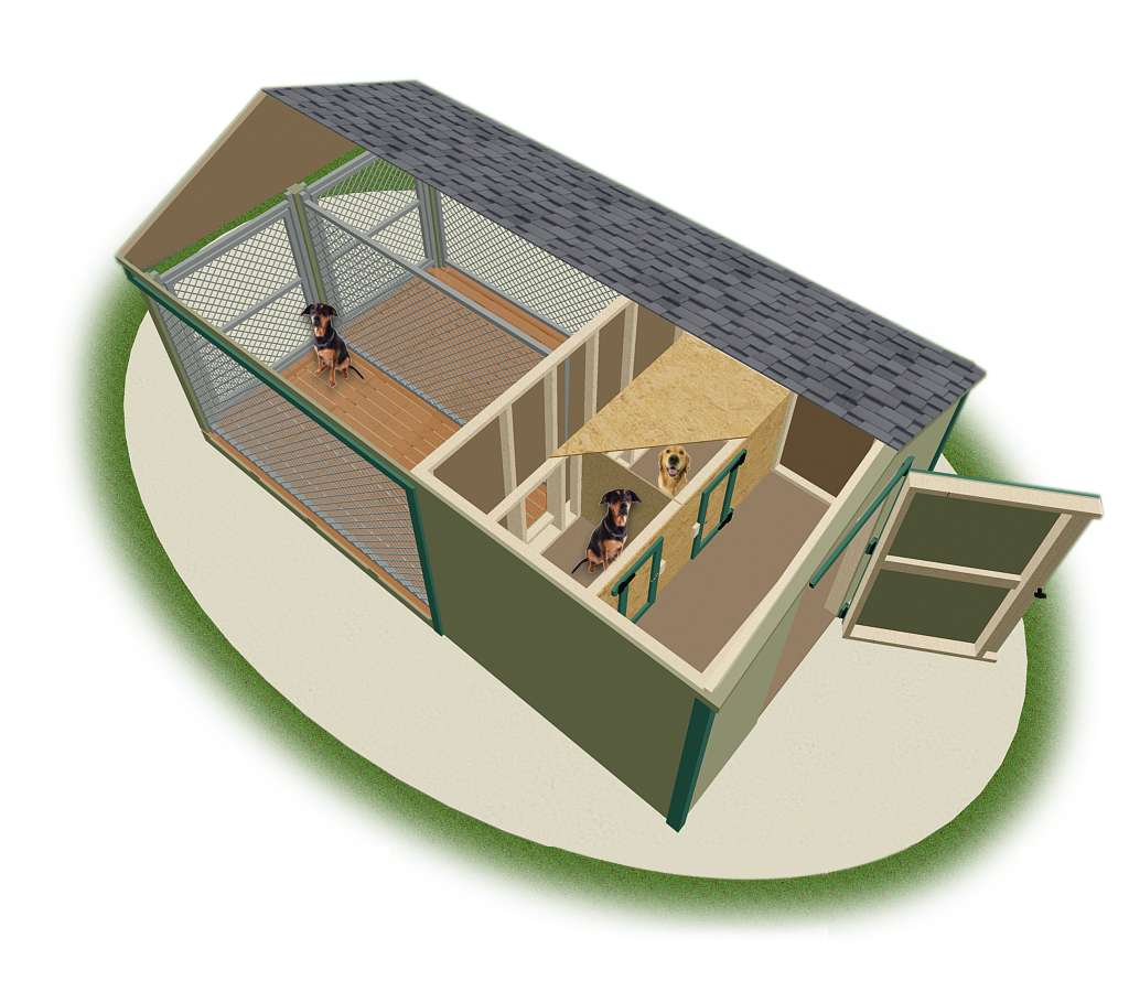 Dog kennels pine creek structures for Indoor outdoor dog kennel design