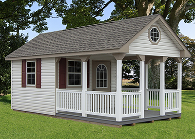 custom cape cod style cabana with porch built by Pine Creek Structures