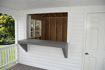 Hip Style Cabana with bar window built by Pine Creek Structures