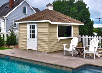 custom poolside shed with bar area built by Pine Creek Structures