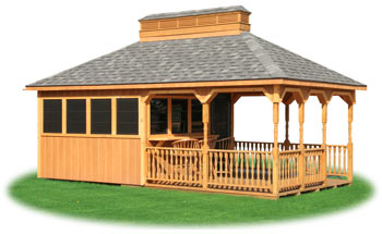 custom cabana with bar area built by Pine Creek Structures
