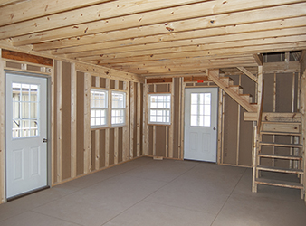 Custom 2-Story Gambrel Cabin Interior built by Pine Creek Structures