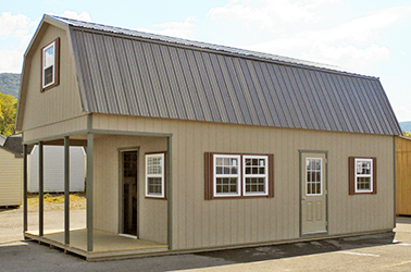 Custom 2-Story Gambrel Cabin built by Pine Creek Structures