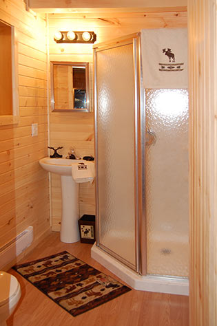 Bathroom in custom chalet cabin