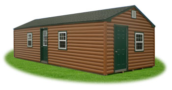 Custom 14 x 36 peak cabin with vinyl log siding