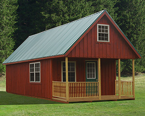 14 x 36 Custom Board 'N' Batten Cabin built by Pine Creek Structures