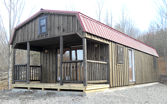 Custom Rustic Gambrel Cabin built by Pine Creek Structures