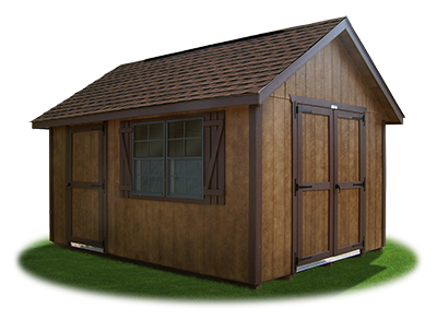 10 x 14 LP Cape Cod Shed with coffee brown polyurethane on LP Smart Side