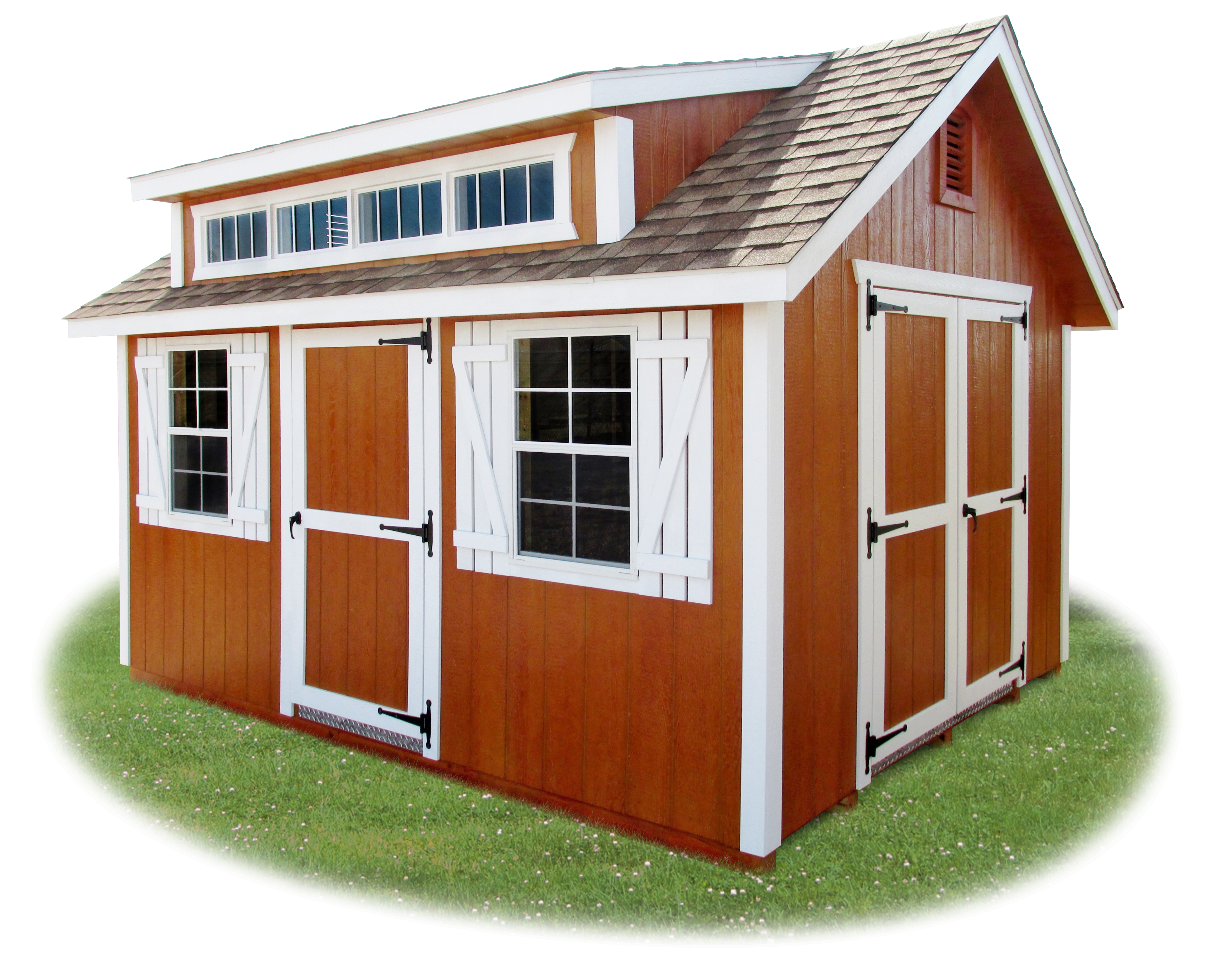 vinyl cape cod storage shed with custom dorner and transom windows