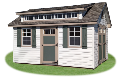 10 x 16 Vinyl Cape Cod Shed with Cape Dormer
