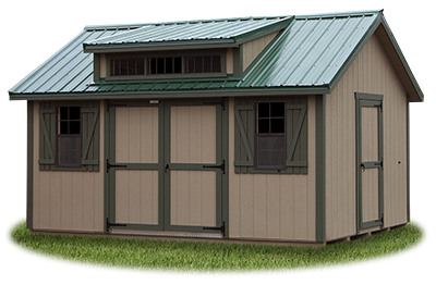12x16 LP Cape Cod Storage Shed with Cape Dormer and metal roof