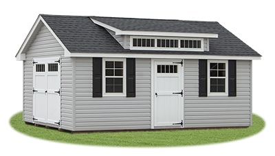 12 x 20 Vinyl Cape Cod Storage Shed with Cape Dormer