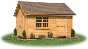 cedar sided cape cod storage shed with shingle roof and handmade windows
