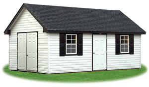 white vinyl cape cod storage shed with black shingle roof and shutters