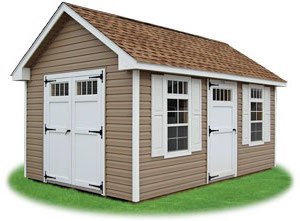 clay vinyl new england style cape cod storage shed with transom windows