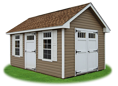 10 x 14 Vinyl Cape Cod Storage Shed with New England upgrades and transom windows