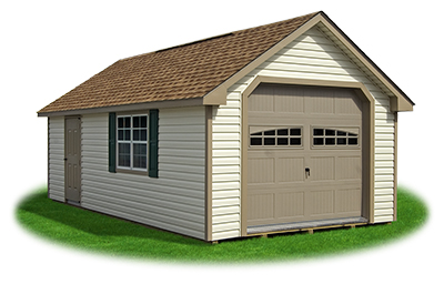 vinyl sided cape cod one car garage