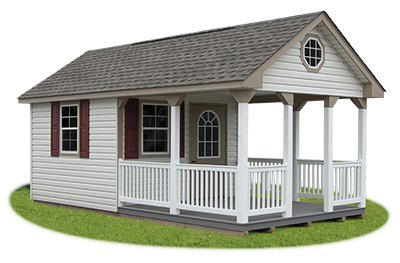 12 x 20 Custom Vinyl Cape Cod Building with Porch