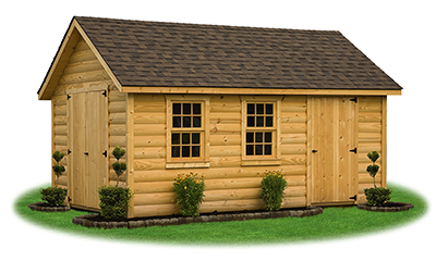 10 x 16 Log sided Cape Cod Storage Shed