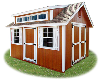 Vinyl Cape Cod Storage Shed with new cape dormer upgrade from Pine Creek Structures